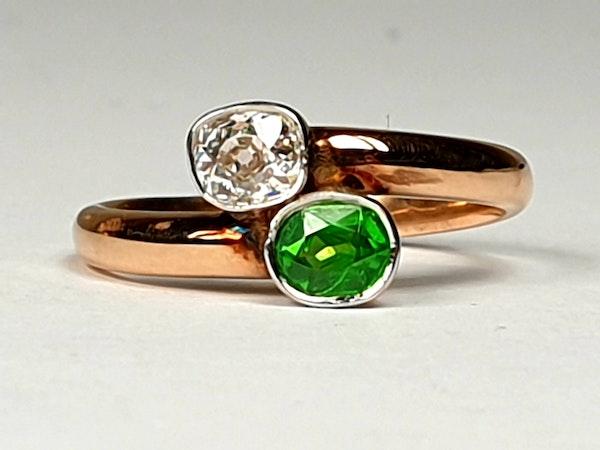 Russian Demantoid Garnet and Cushion Cut Diamond Ring  DBGEMS - image 4