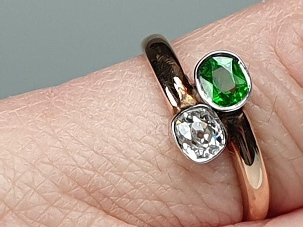 Russian Demantoid Garnet and Cushion Cut Diamond Ring  DBGEMS - image 5
