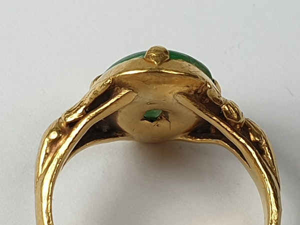 Jade Signet Ring Set in 22ct Gold  DBGEMS - image 6