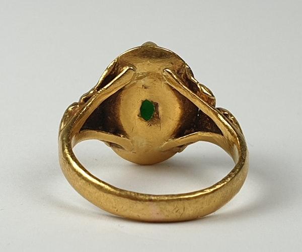 Jade Signet Ring Set in 22ct Gold  DBGEMS - image 2