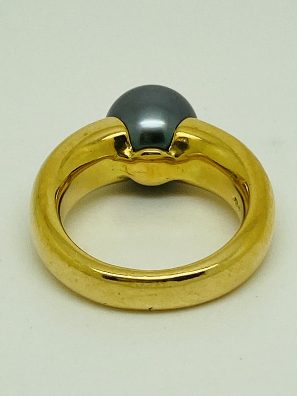 18K yellow gold Black Pearl Ring - image 3