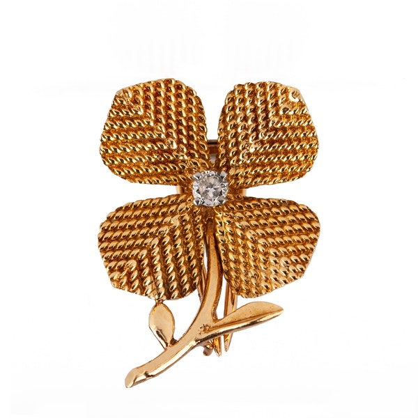 Vintage Sterlé of Paris 18 Karat Gold Flower Brooch with Central Diamond, French circa 1950. - image 1