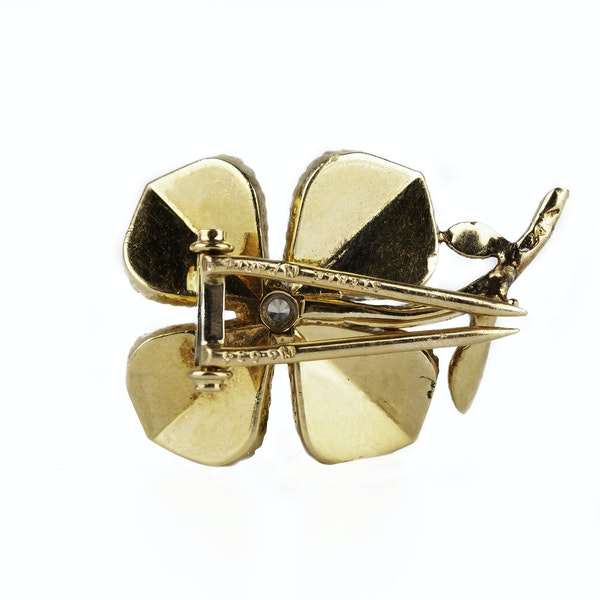 Vintage Sterlé of Paris 18 Karat Gold Flower Brooch with Central Diamond, French circa 1950. - image 2