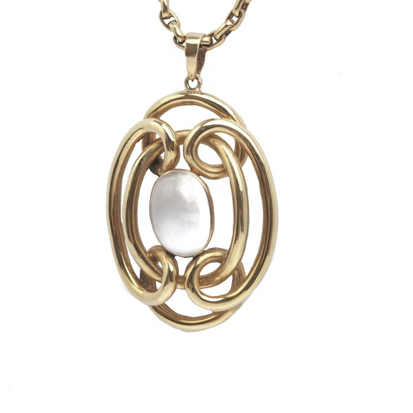 A Moonstone Pendant Necklace - image 2