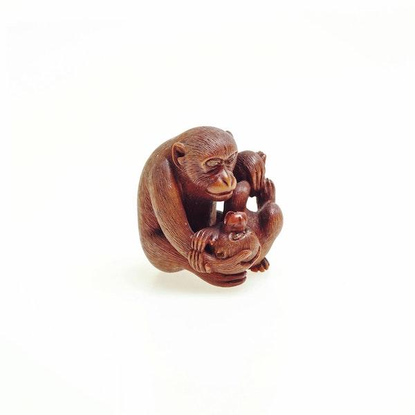 Wood Netsuke of monkeys - image 2