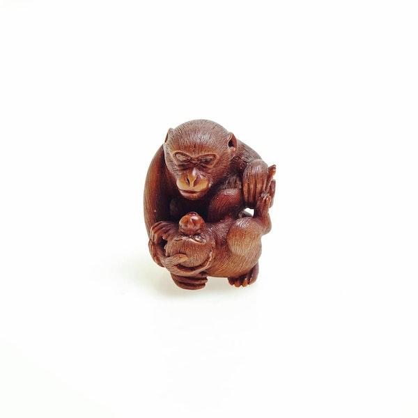 Wood Netsuke of monkeys - image 1