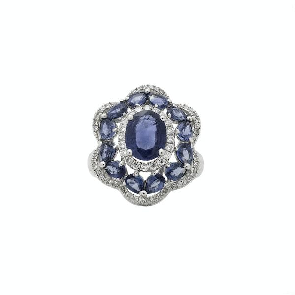 """Onda"" sapphires diamonds ring - image 2"