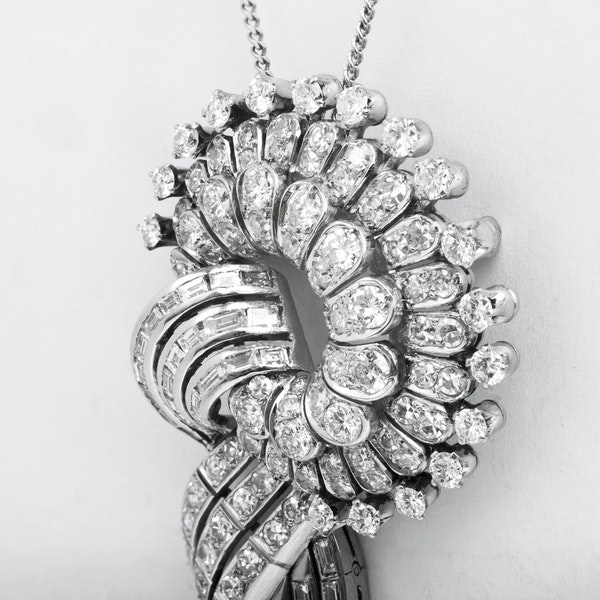 A 1950s Diamond and White Gold Slip Knot Pendant Necklace - image 1