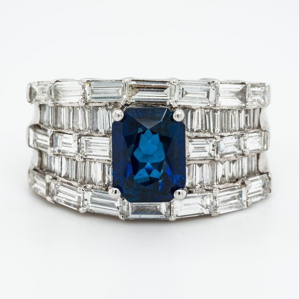 A Sapphire and Diamond Cocktail Ring Offered by The Gilded Lily - image 1