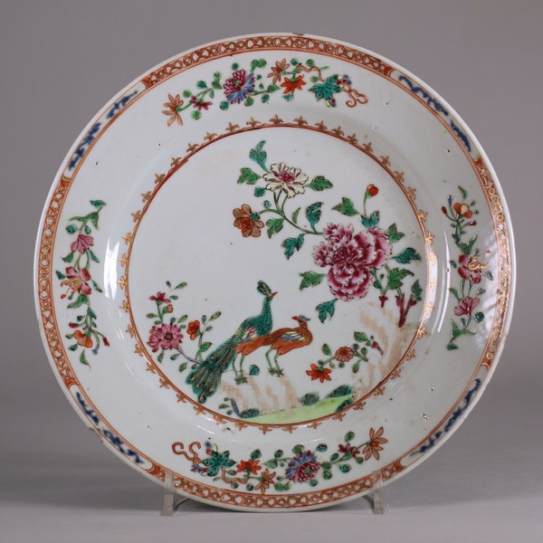 Pair of Chinese 'double-peacock' plates, Qianlong - image 2