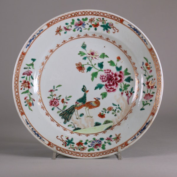 Pair of Chinese 'double-peacock' plates, Qianlong - image 3