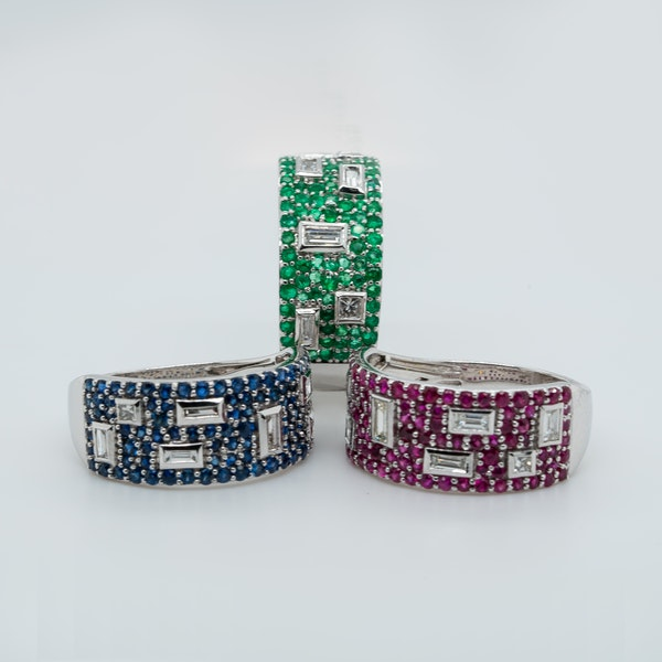 Contemporary collection of three French Half Eternity Rings - image 1