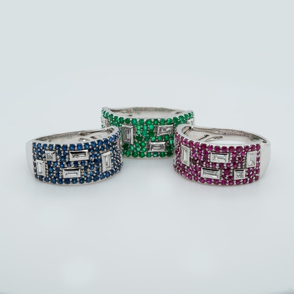 Contemporary collection of three French Half Eternity Rings - image 3