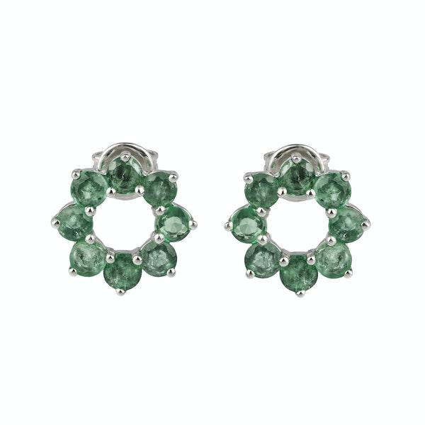 Circle emeralds earrings - image 1