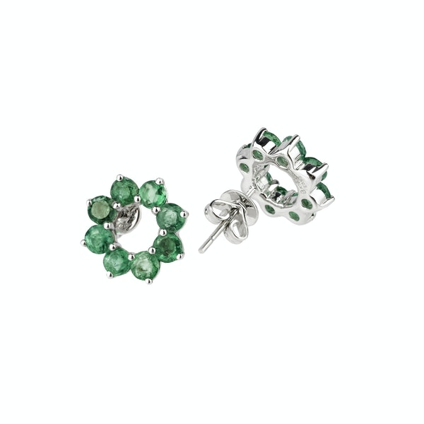 Circle emeralds earrings - image 2