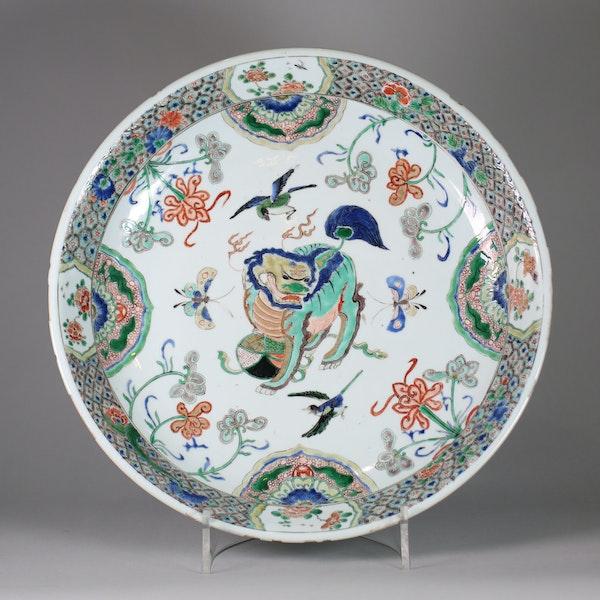 Large Chinese famille verte dish - image 1