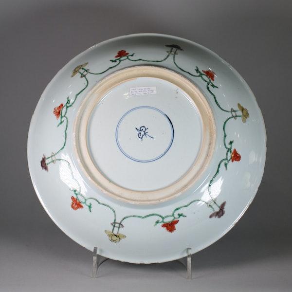 Large Chinese famille verte dish - image 2