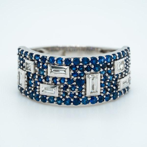 French Sapphire Diamond Half Eternity Ring - image 1