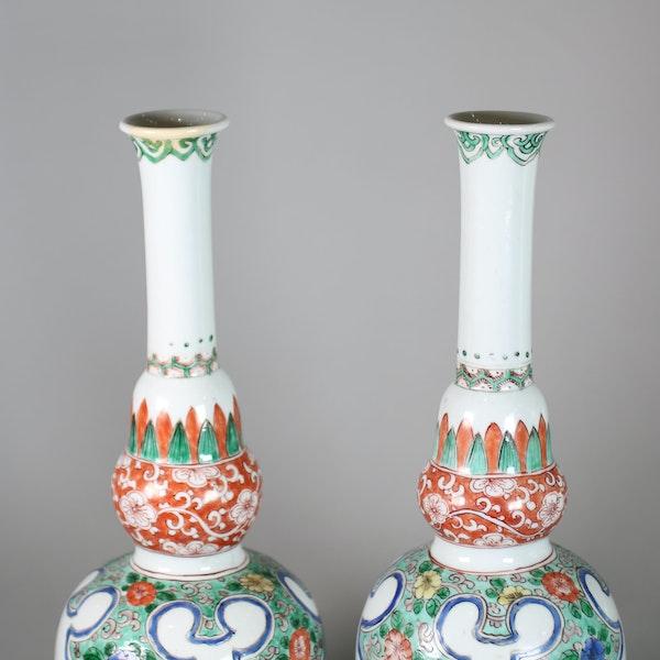 Pair of Chinese famille verte double gourd bottle vases - image 2