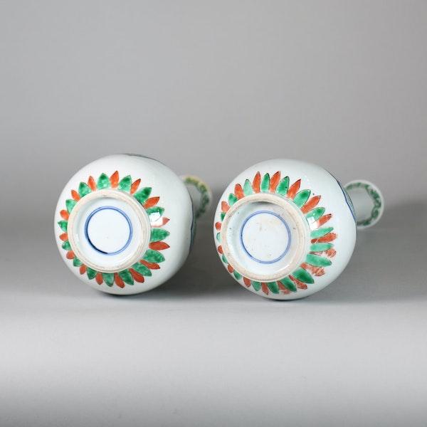Pair of Chinese famille verte double gourd bottle vases - image 6