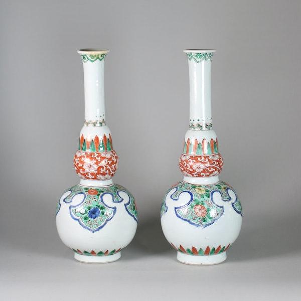 Pair of Chinese famille verte double gourd bottle vases - image 1