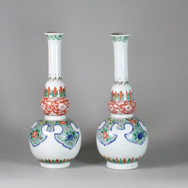 Pair of Chinese famille verte double gourd bottle vases - image 3