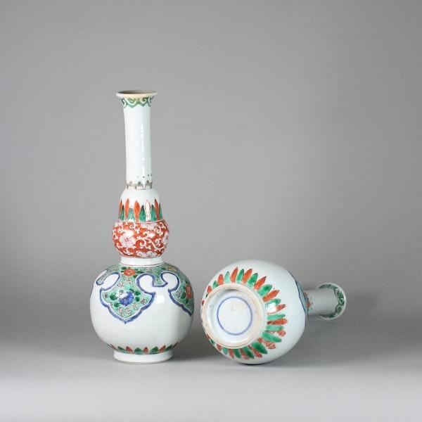 Pair of Chinese famille verte double gourd bottle vases - image 5