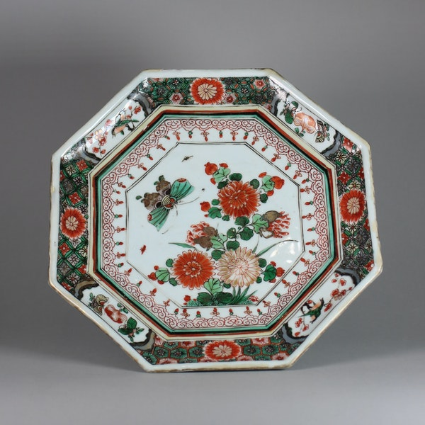 Chinese famille verte octagonal tazza - image 1