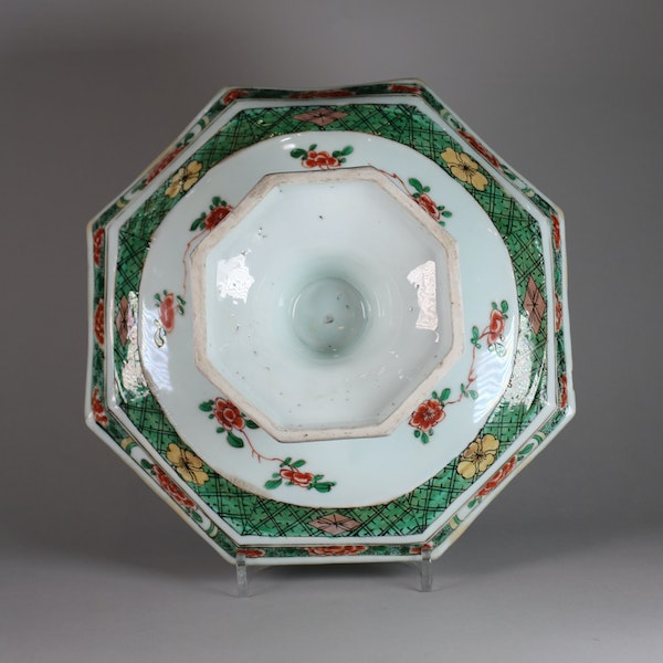 Chinese famille verte octagonal tazza - image 2