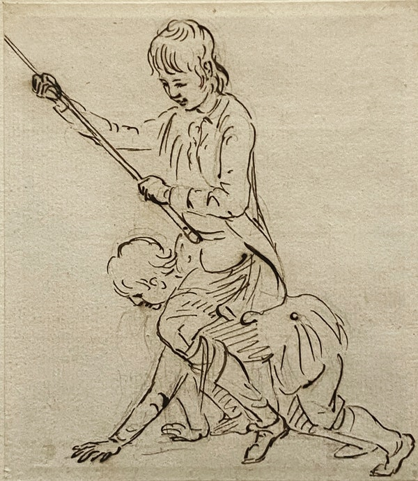 Paul Sandby RA Pen & Ink Study Boys Playing - image 1