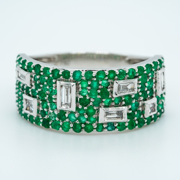 French Emerald and Diamond Half Eternity Ring - image 1