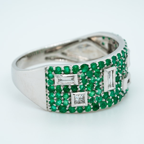 French Emerald and Diamond Half Eternity Ring - image 2
