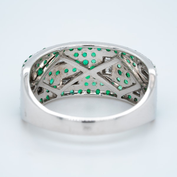 French Emerald and Diamond Half Eternity Ring - image 3
