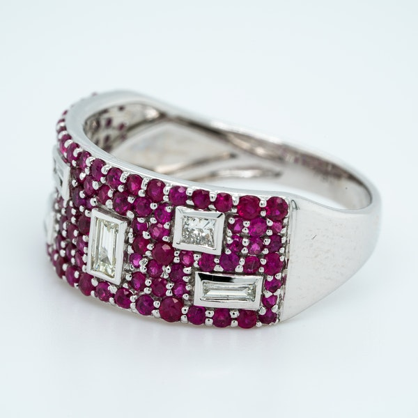 French Ruby and Diamond half Eternity Ring - image 2