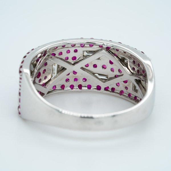 French Ruby and Diamond half Eternity Ring - image 3