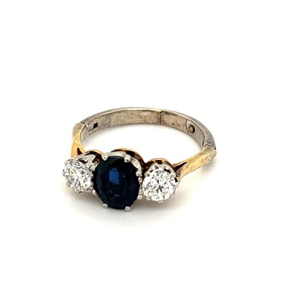Sapphire  / Diamond 3 stone Ring - image 1