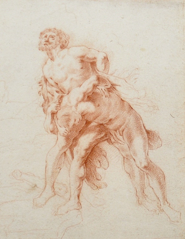 17th.Century French School Red Chalk Drawing Hercules Wrestling Antaeus - image 1