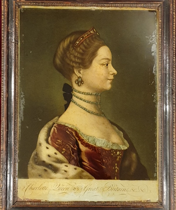 Charlotte Queen of Great Britain Mezzotint Laid On Glass - image 1