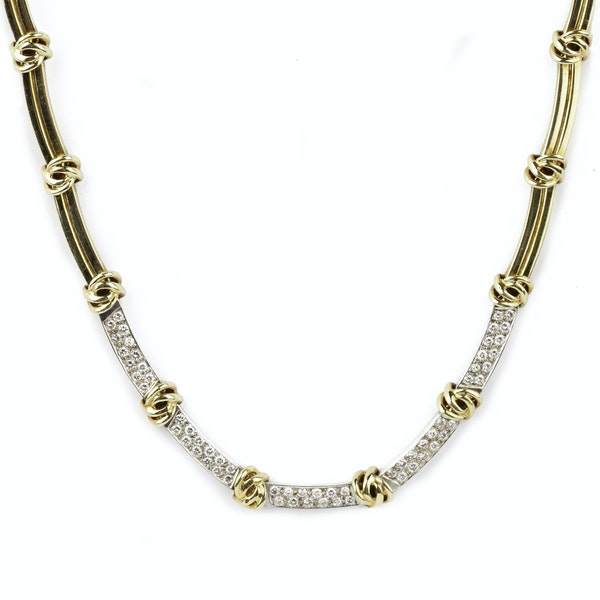 Tiffany signed gold and diamond necklace - image 1