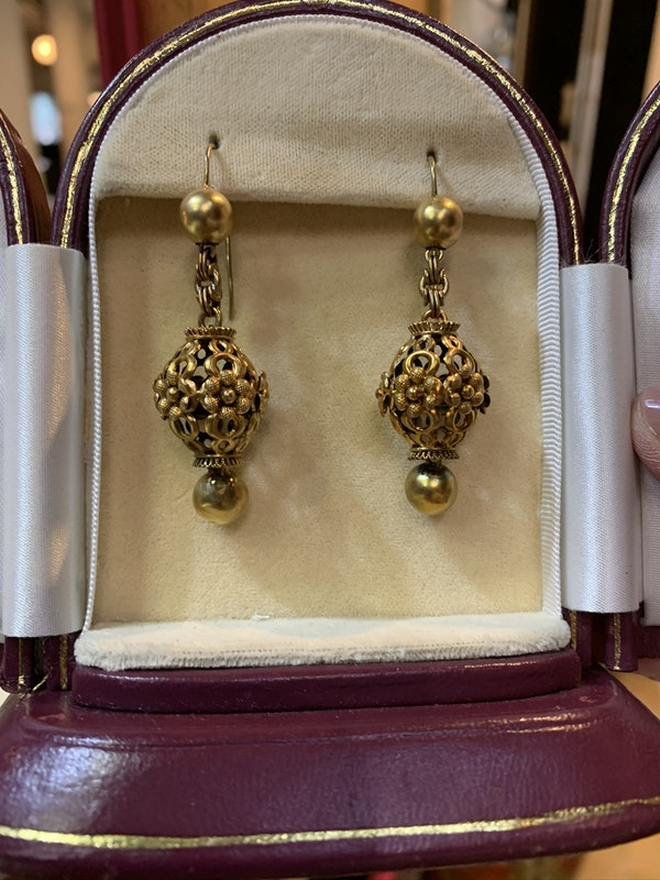 Gold late Victorian earrings New Product - image 1