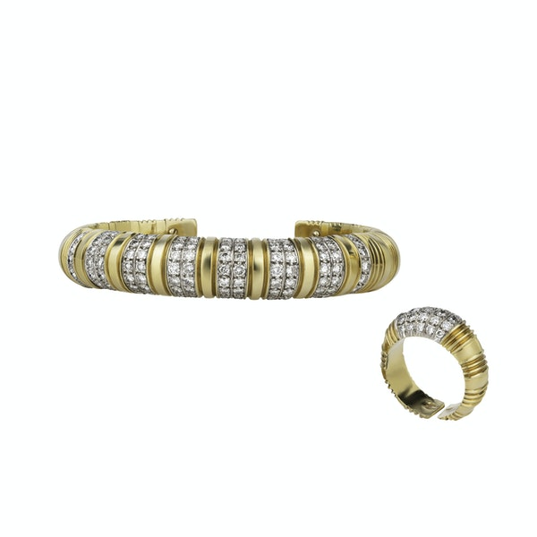 Boodles Gold and Diamond Bangle and Ring - image 1