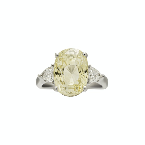 Natural Yellow Sapphire and Diamond Ring - image 1