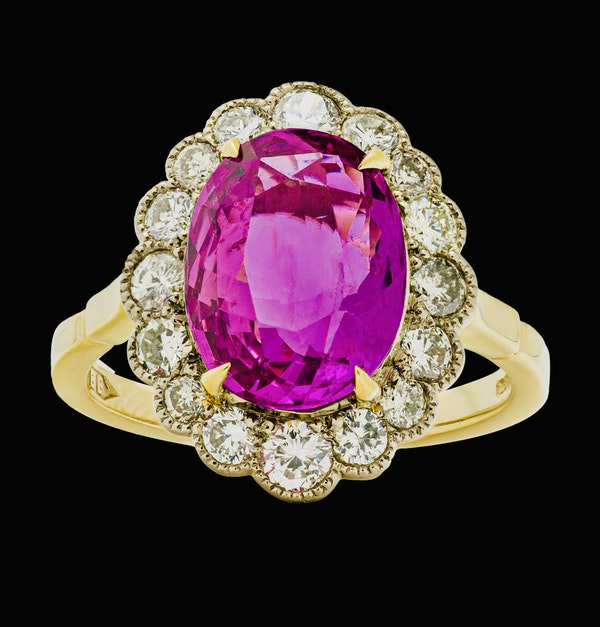 18K yellow gold 5.19ct Natural Ruby and 1.17ct Diamond Ring - image 1