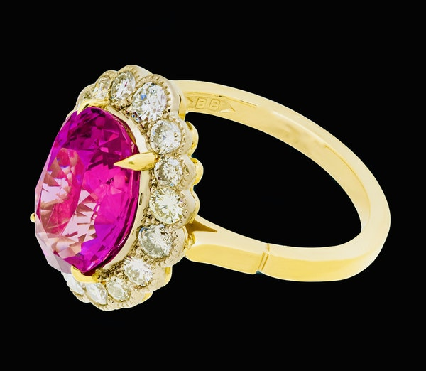 18K yellow gold 5.19ct Natural Ruby and 1.17ct Diamond Ring - image 2