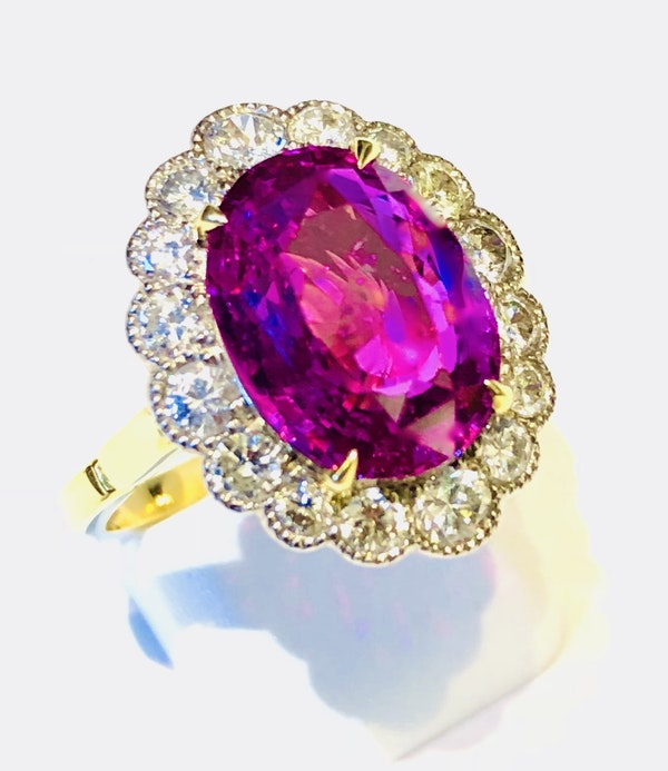 18K yellow gold 5.19ct Natural Ruby and 1.17ct Diamond Ring - image 6