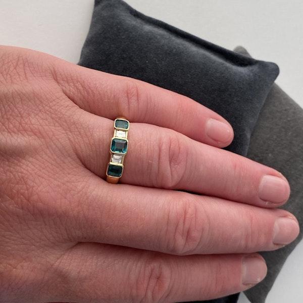 1950's, 18ct Yellow Gold Emerald & Diamond stone set Ring, SHAPIRO & Co - image 3