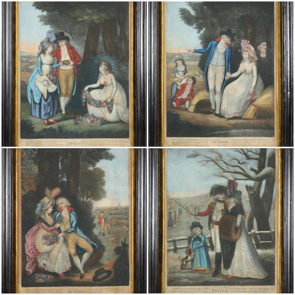 Set Of Georgian Mezzotint Engravings In Original Frames The Four Seasons - image 1