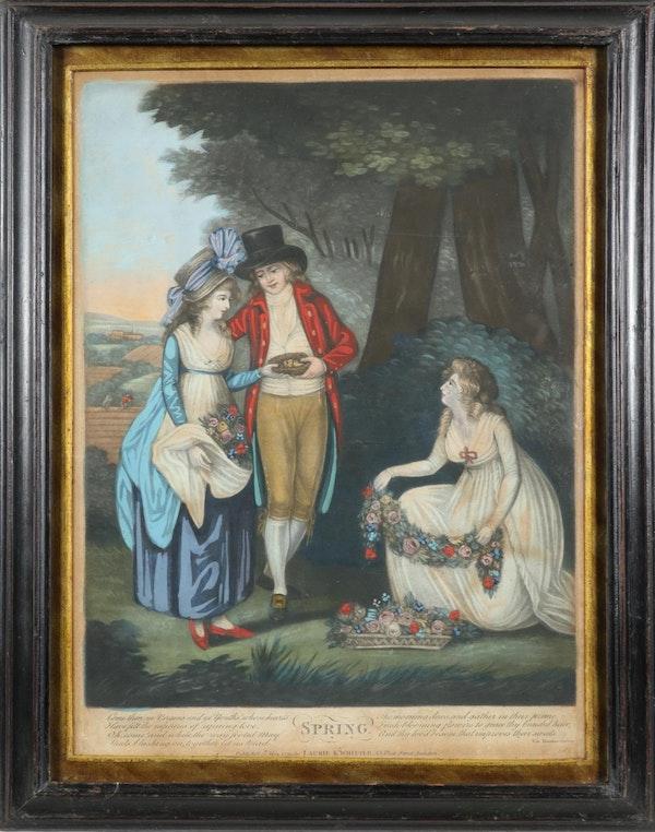 Set Of Georgian Mezzotint Engravings In Original Frames The Four Seasons - image 2