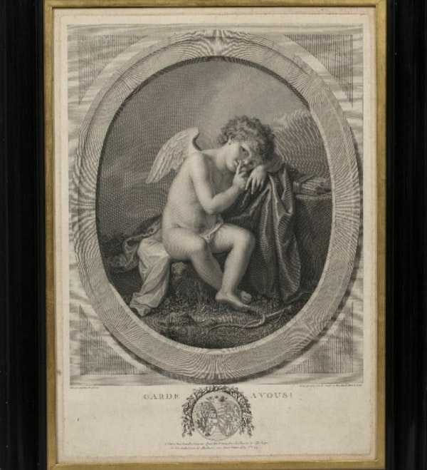"""Angelica Kauffman Copper Engraving """"Garde A Vous!"""" - image 1"""