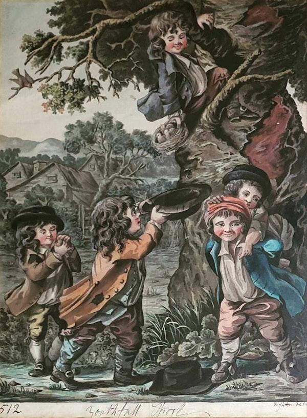 "Robert Dighton Watercolour ""Youthful Sport"" 1797 - image 1"